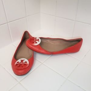 Tory Burch Leather Flats Red Size 6